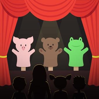 Marionettentheaterleistung der kinder mit tierschauspielern und kinderpublikumsillustration