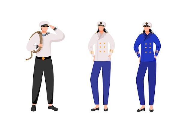 Maritime besatzungswohnung. marine berufe. passagierflotte. seemann und kapitäne in der arbeitsuniform isolierten zeichentrickfiguren auf weißem hintergrund
