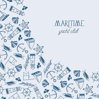 Maritime bunte yacht club vorlage