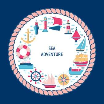Maritime elemente mit schiff