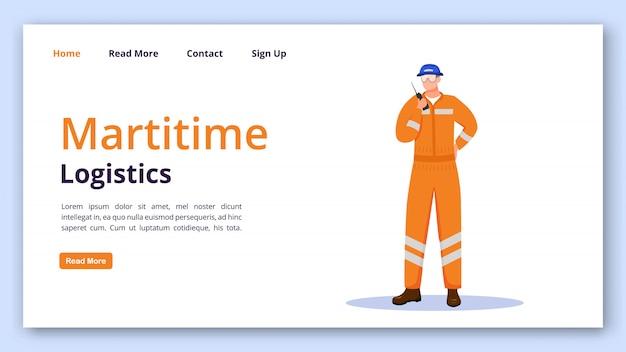 Maritime logistik landing page vektor vorlage. versandwebsite-schnittstellenidee mit flachen abbildungen. homepage-layout für seetransporte. arbeiter-landingpage