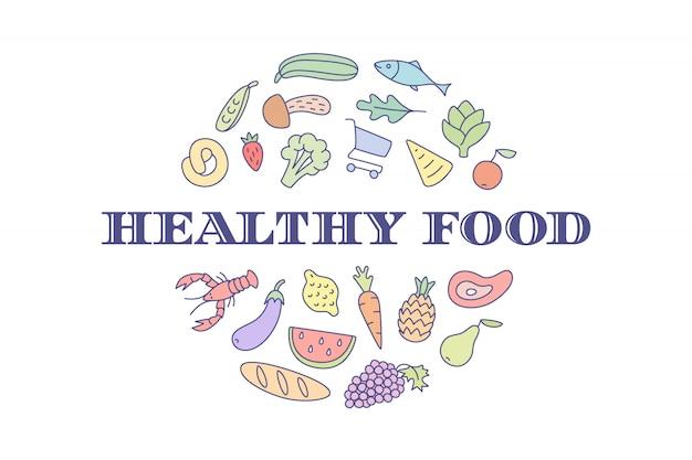Marke des projektes für markt mit aufschrift healthy food