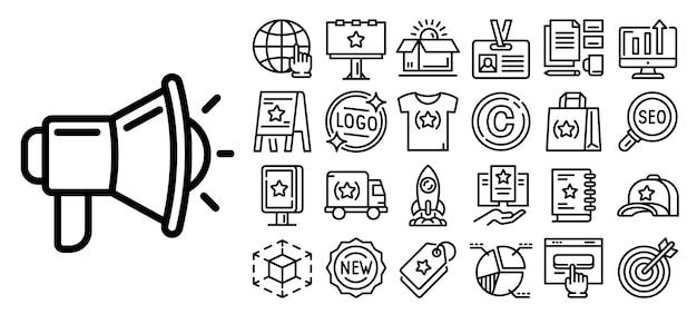 Marken-icon-set. umreißsatz markenvektorikonen für das webdesign lokalisiert