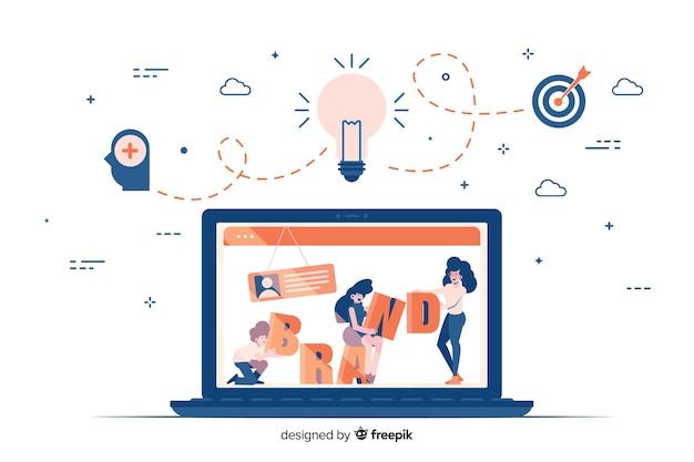 Markenbeschriftung in der bunten illustration