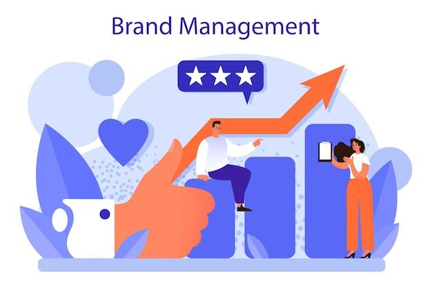Markenführungskonzept. einzigartiges design einer firmengründung und -entwicklung. markenerkennung als marketingstrategie und promotion. isolierte flache abbildung