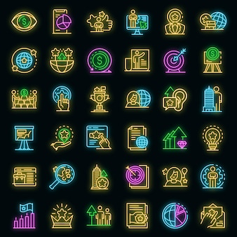 Markenmanager-symbole gesetzt. umrisse von markenmanager-vektorsymbolen neonfarbe auf schwarz