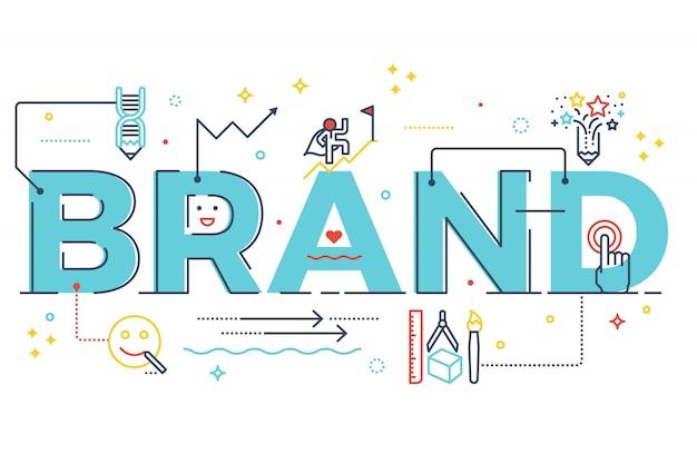 Markenwort, das typografiedesignillustration mit linie ikonen beschriftet