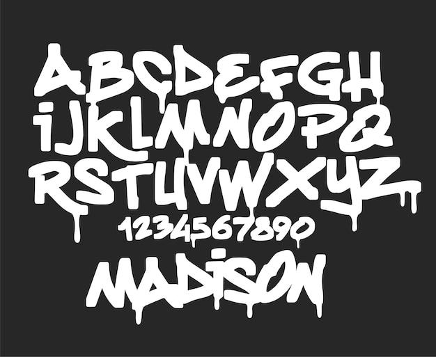 Marker graffiti-schriftart, handschriftliche typografieillustration