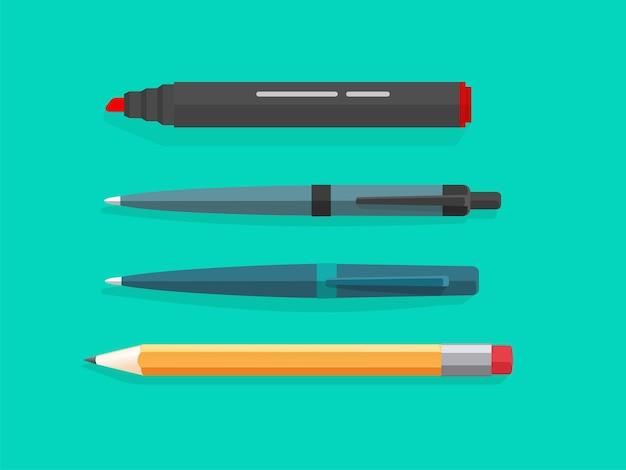 Marker, kugelschreiber und bleistifte vektor-set isoliert im flachen cartoon-design-bild