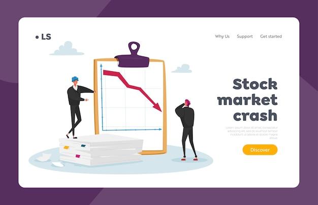 Market drop, fall und abschreibung landing page template.