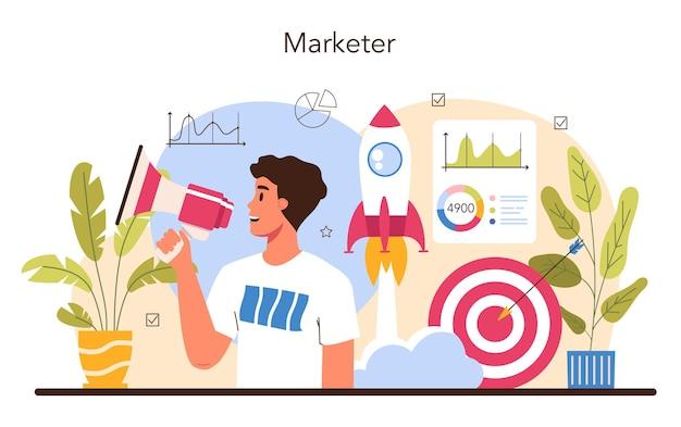 Marketer legt marketingstrategie fest und kommuniziert mit einem kunden