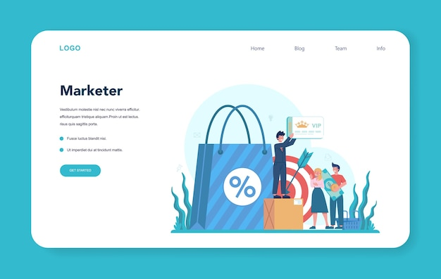 Marketer web banner oder landing page. werbe- und marketingkonzept.