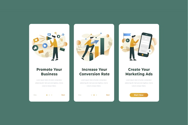 Marketing app onboarding bildschirm illustration vorlage