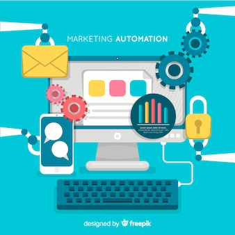 Marketing automation flachen hintergrund