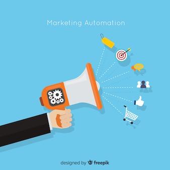 Marketing automation flachen hintergrund