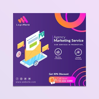 Marketing business square flyer vorlage