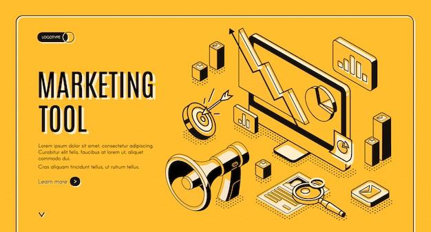 Marketing-e-commerce, isometrische netzfahne des datenanalysewerkzeugs.