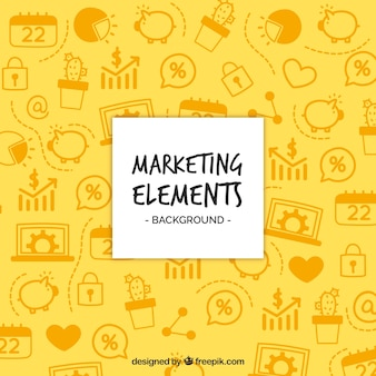 Marketing-elemente hintergrund in flachen stil