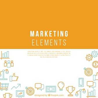 Marketing-elemente hintergrund mit platz in der mitte