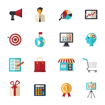 Marketing flache icons set
