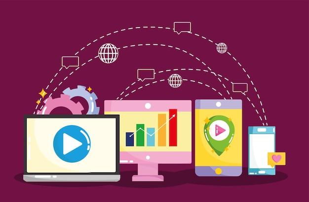 Marketing für social media-netzwerkverbindungen in der illustration digitaler geräte