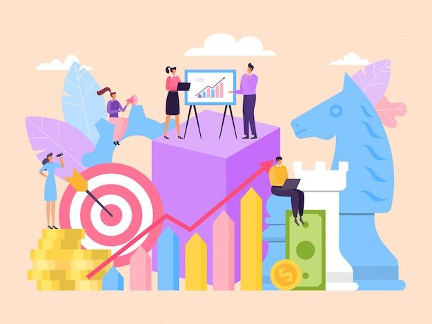 Marketing geschäftsstrategie konzept illustration. das unternehmensteam erstellt eine finanzanalyse, ein erfolgreiches wachstumsdiagramm und eine schachfigur