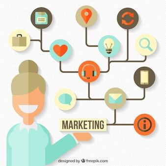 Marketing-hintergrund mit bunten icons