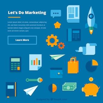Marketing-hintergrund mit elementen