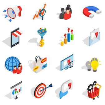 Marketing-ikonen in der isometrischen art 3d. lokalisierte vektorillustration der medien gesetzte sammlung