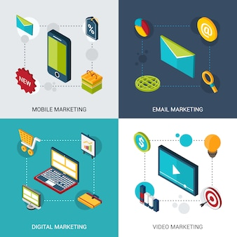 Marketing isometrische set