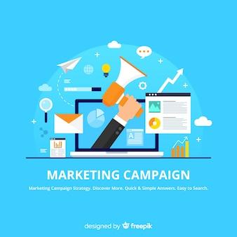 Marketing-kampagne flachen hintergrund