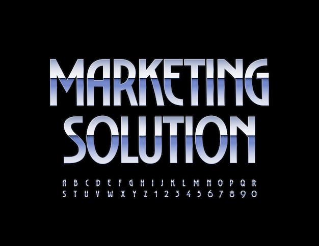 Marketing-lösung elegante metallschrift schrift silber alphabet buchstaben und zahlen gesetzt