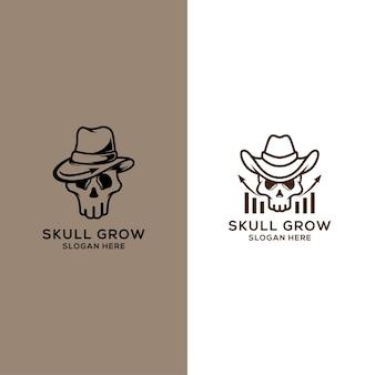 Marketing-logo mit schädelkonzept