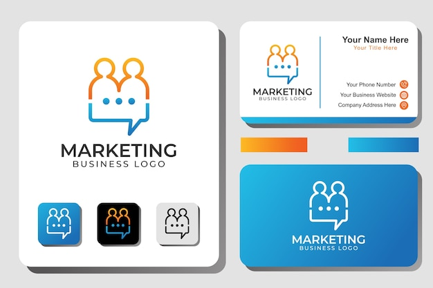 Marketing-logo, personen-chat, buchstabe m personen mit bubble-chat-logo-konzept
