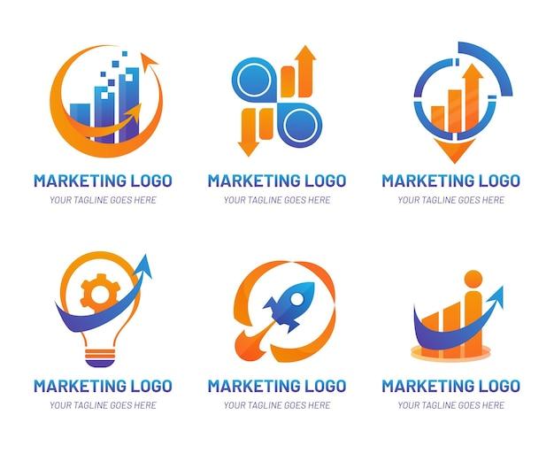 Marketing-logo-set mit farbverlauf