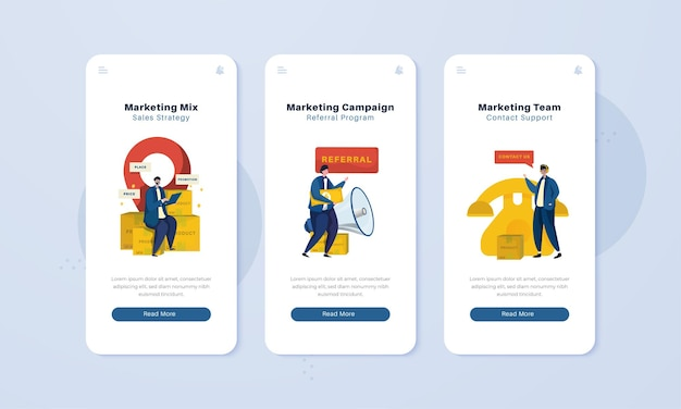 Marketing-mix-kampagnenstrategie auf dem onboard-bildschirmillustrationskonzept