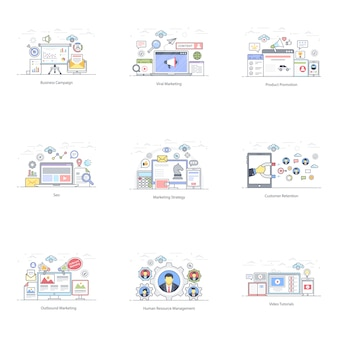 Marketing promotion wohnung illustrations pack