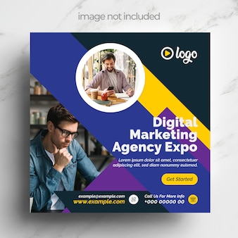 Marketing social media banner layout mit dunkelblauem design layout