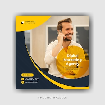 Marketing social media banner und instagram post template design premium-vektor