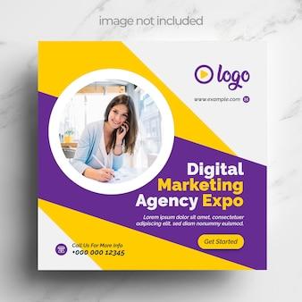 Marketing social media banner vorlage mit gelben und violetten akzenten