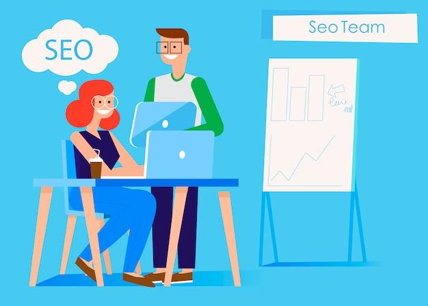 Marketing team banner mann und frau im büro am computer und am tablet.