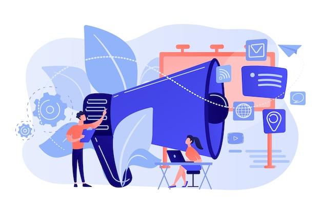 Marketing-teamarbeit und riesiges megaphon mit mediensymbolen. marketing und branding, plakat und anzeige, marketingstrategiekonzept auf weißem hintergrund.