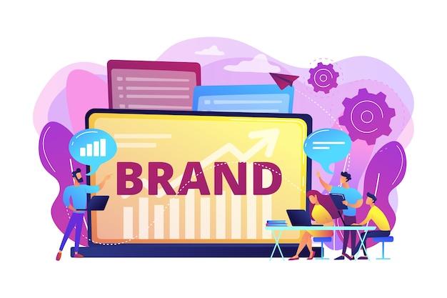 Marketing- und werbekampagne. aufbau der markenbekanntheit. markenwerkstatt. workshop organisiert von der marke, nützliches marketing-event-konzept.