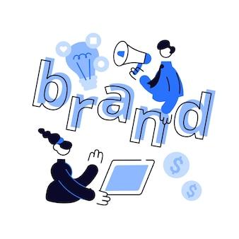 Marketing- und werbekampagne. aufbau der markenbekanntheit.
