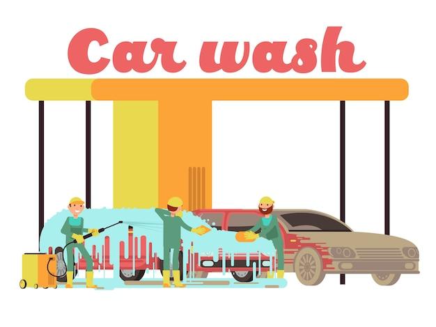 Marketing-vektorhintergrund der autowäscheservices fördernd