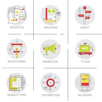 Marketing vertriebsverteilung icon set