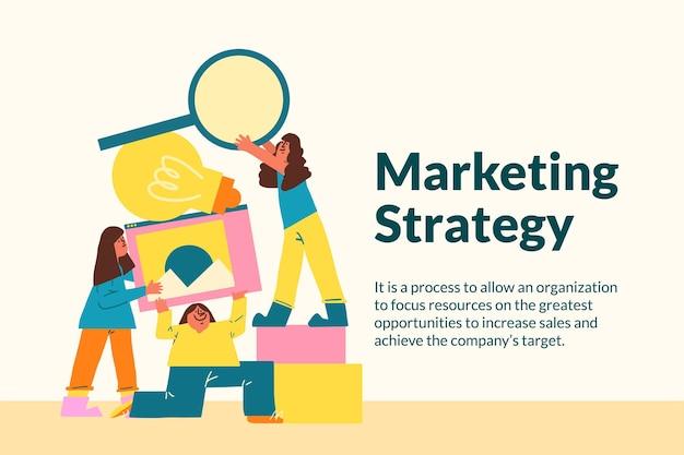 Marketing-vorlagenvektor für startup-unternehmen im flachen design
