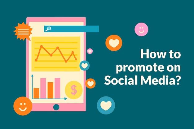 Marketing-vorlagenvektor im flachen design für social-media-banner