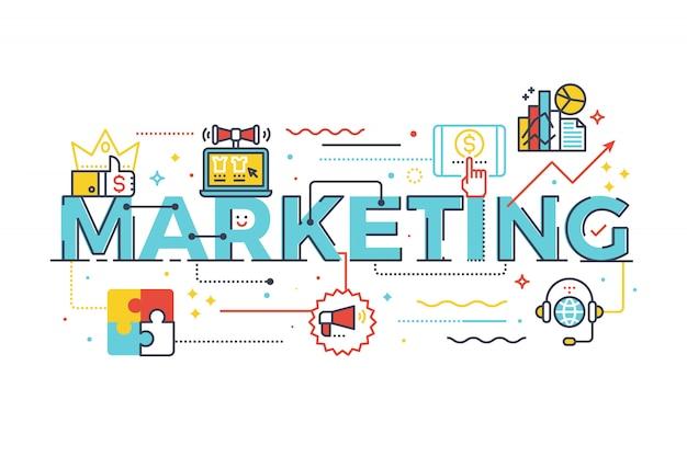 Marketing-wort in der geschäftskonzept-briefgestaltungsillustration mit linie ikonen