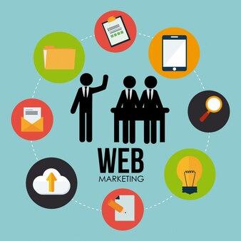 Marketingdesign über blauem hintergrund